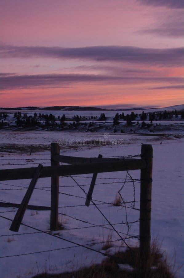 大天空日落,西蒙大拿,麦迪逊河 库存图片