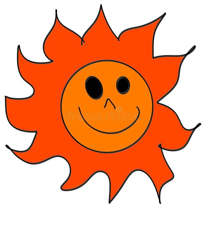 大太阳图画,明亮的白色背景 向量例证