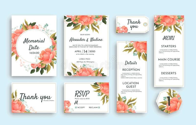 大套与桃红色玫瑰的婚姻的文具包括不同的卡片 RSVP,谢谢,菜单,招待会细节 库存例证