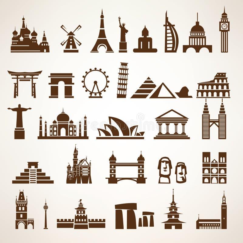 大套世界地标和历史建筑 库存例证