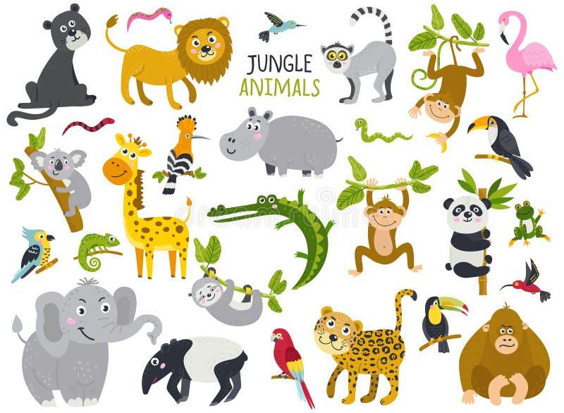 大套从密林的逗人喜爱的动物 向量例证