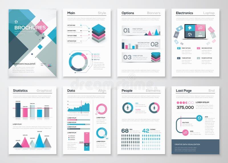 大套企业小册子和infographic传染媒介元素 库存例证