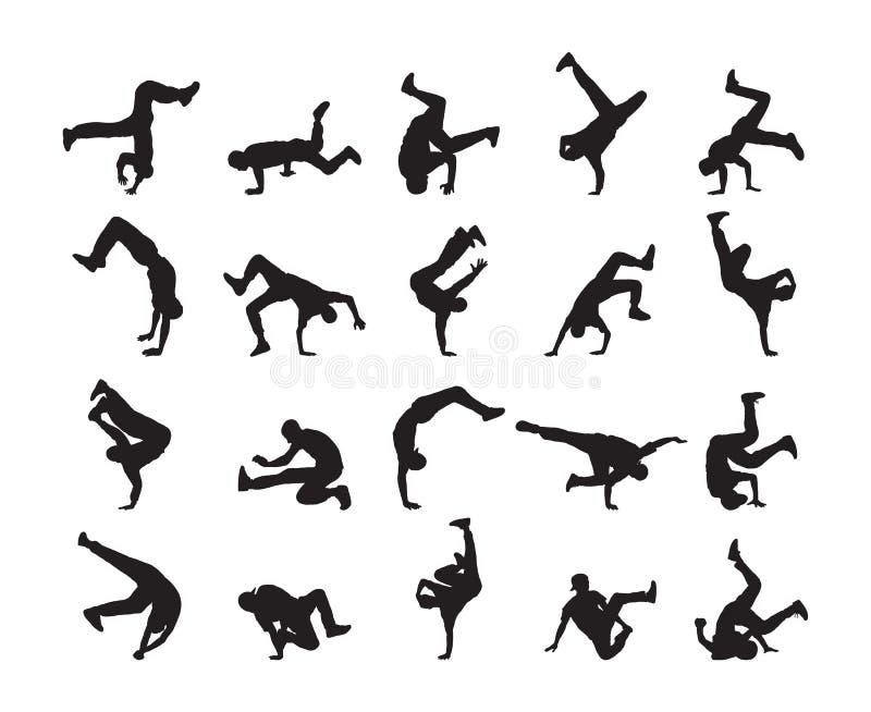 大套传神霹雳舞剪影  青年人跳舞在白色背景的Hip Hop 库存例证