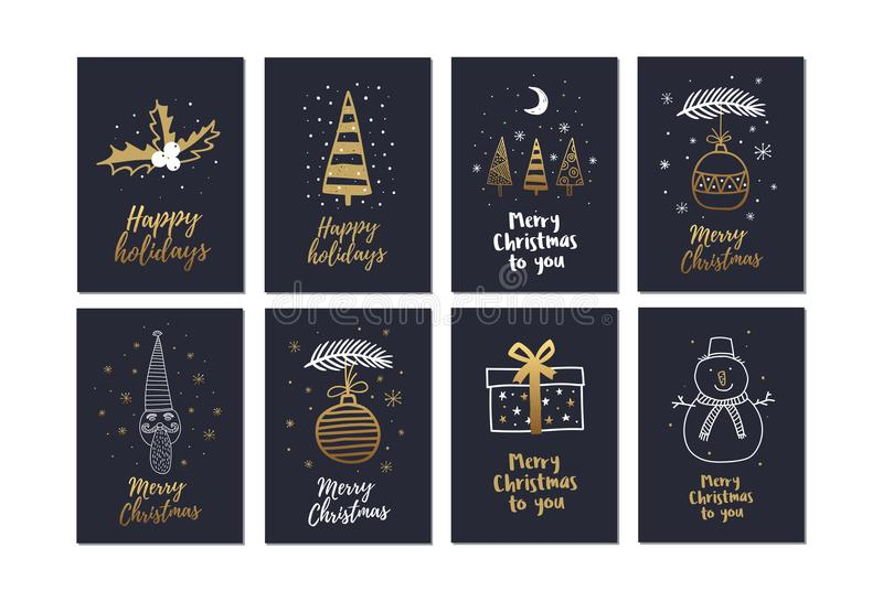 大套创造性的圣诞卡与金手拉的元素假日 向量例证