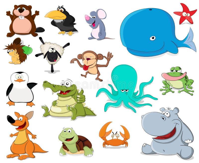 大套动画片动物 皇族释放例证