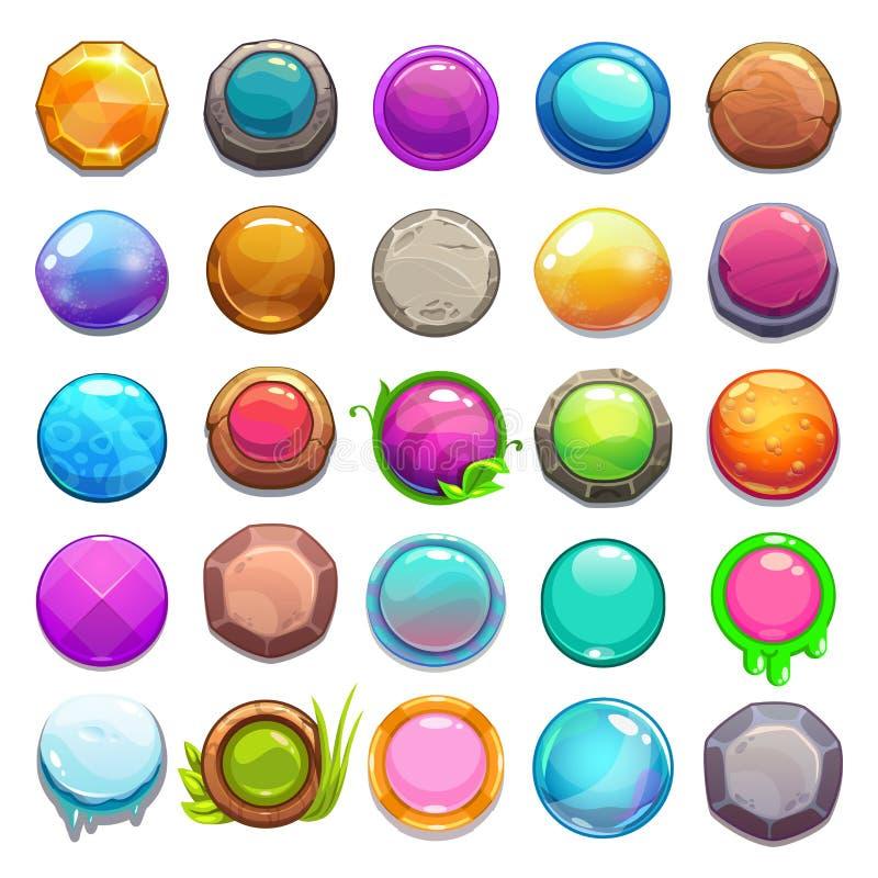 大套动画片圆的按钮 库存例证