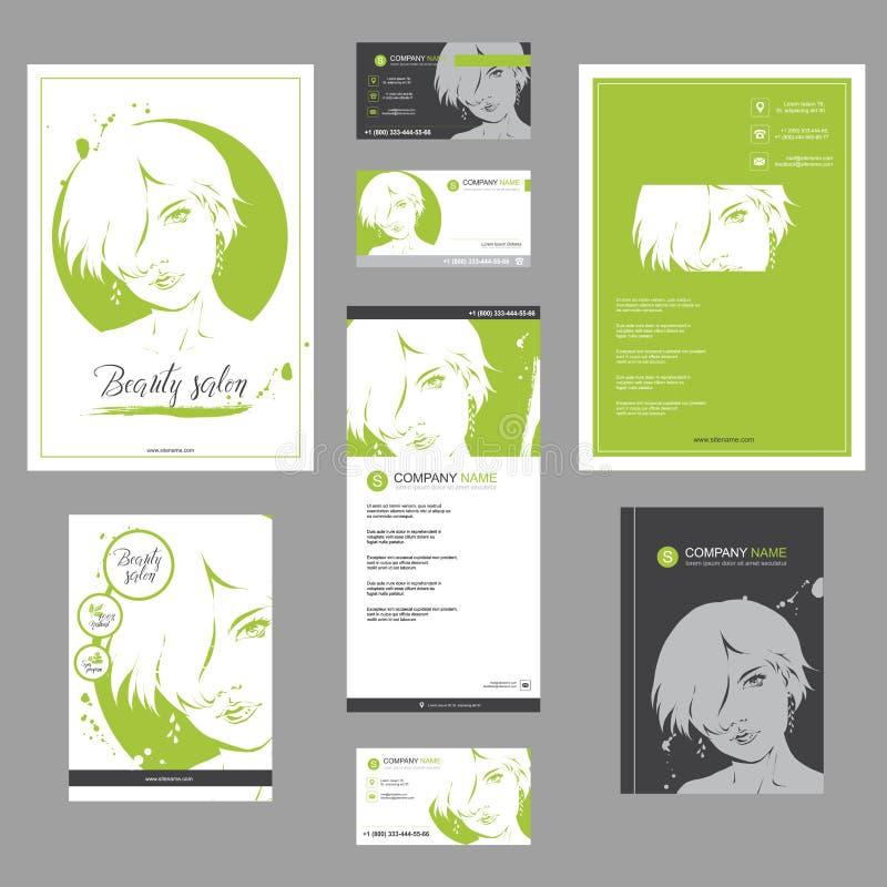 大套卡片、飞行物、海报、小册子和传单设计的时尚模板 库存例证