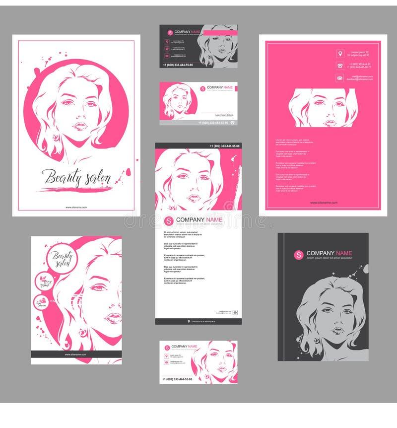 大套卡片、飞行物、海报、小册子和传单设计的时尚模板 向量例证