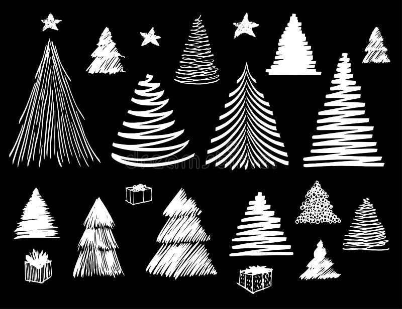 大套圣诞树乱画 手拉的传染媒介概念性图表剪影例证 设计的储蓄元素 向量例证