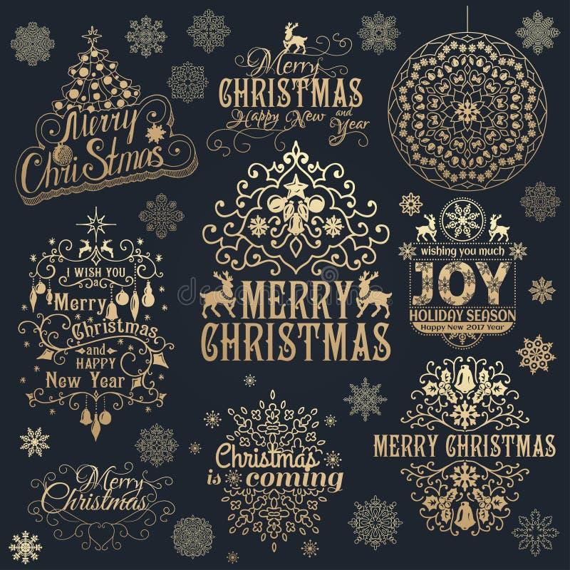 大套圣诞节书法设计元素 皇族释放例证