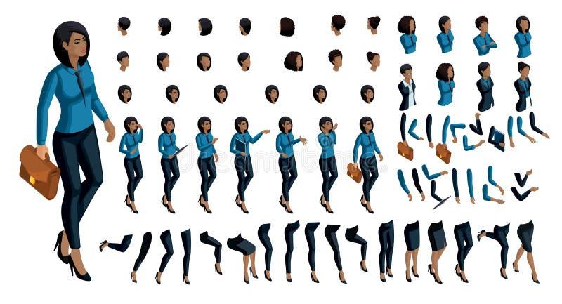 大套在创造自己的字符3d企业非裔美国人的妇女的等量的人民的情感用一套手势 皇族释放例证