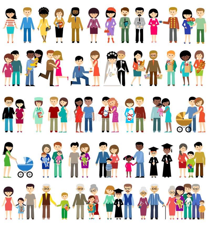 大套在样式平的设计的家庭生活 向量例证