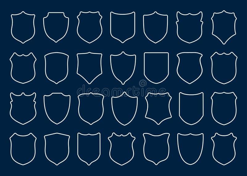 大套在蓝色背景的白色盾 库存例证