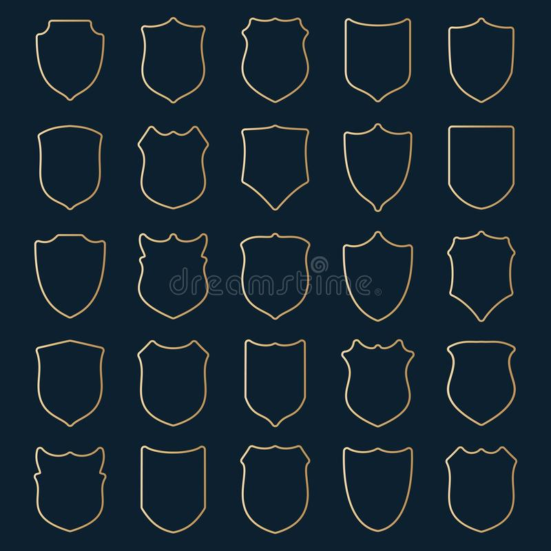 大套在蓝色背景的金黄等高盾 皇族释放例证