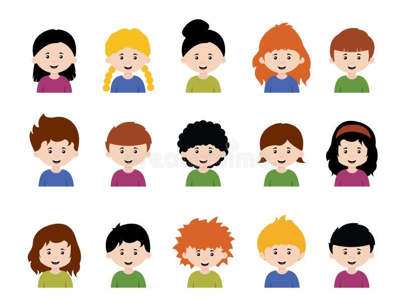 大套孩子具体化、逗人喜爱的动画片男孩和女孩面孔激动各种各样的 向量例证