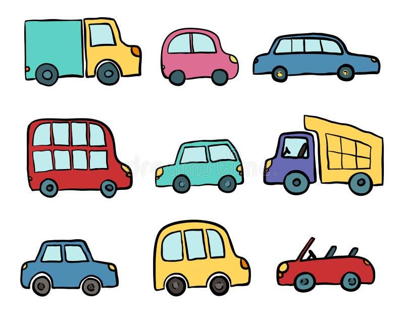 大套孩子的手拉的逗人喜爱的动画片汽车设计 导航包裹的,包裹,海报,网络设计,孩子fabri例证 皇族释放例证