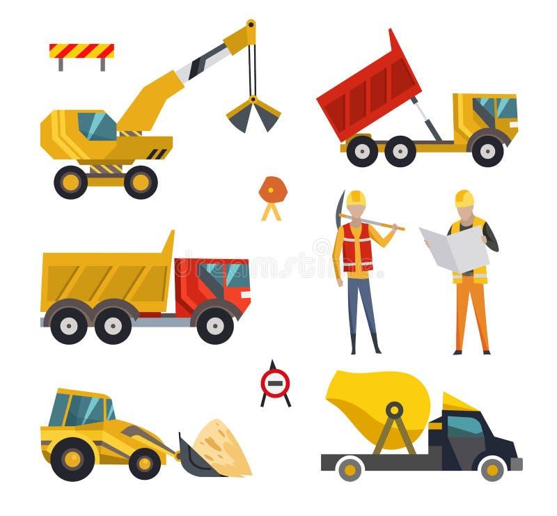 大套建筑器材机械 建筑工作的特别机器 铲车,拖拉机,卡车 向量例证