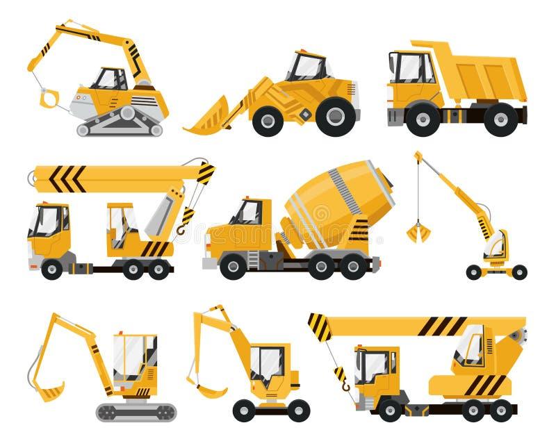 大套建筑器材 建筑工作的特别机器 铲车,起重机,挖掘机,拖拉机 向量例证