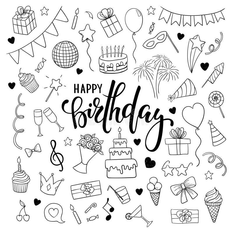 大套手拉的乱画动画片反对和在生日聚会的标志 在生日快乐上写字的手拉的刷子笔 des 库存例证