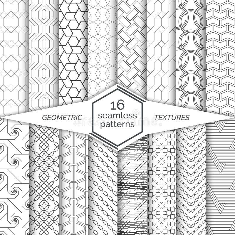 大套无缝的样式 现代典雅的线性纹理 规则重复与六角形的几何背景,多角形, 皇族释放例证