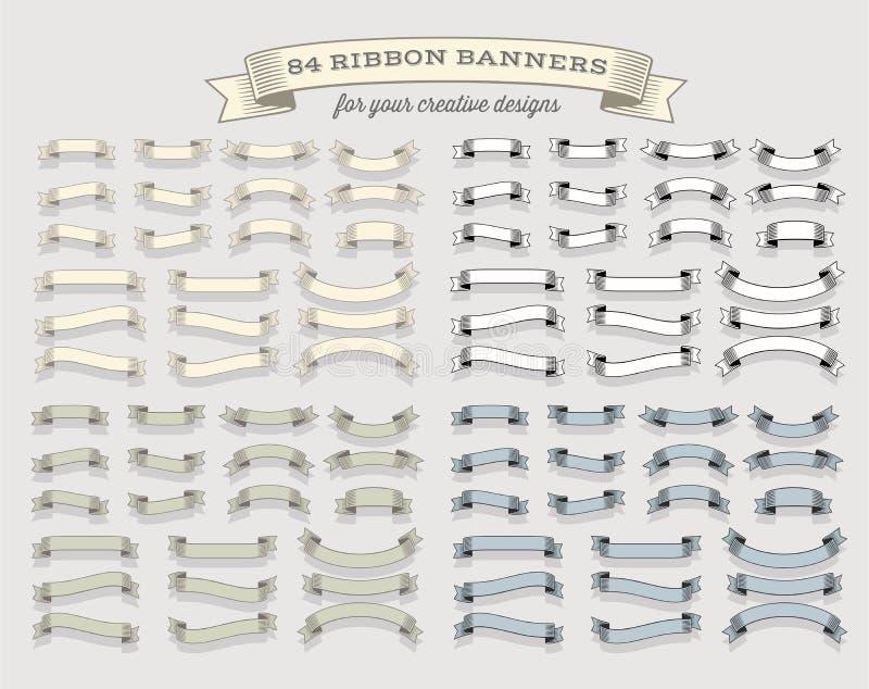 大套标签、商标和冠的丝带横幅 向量例证