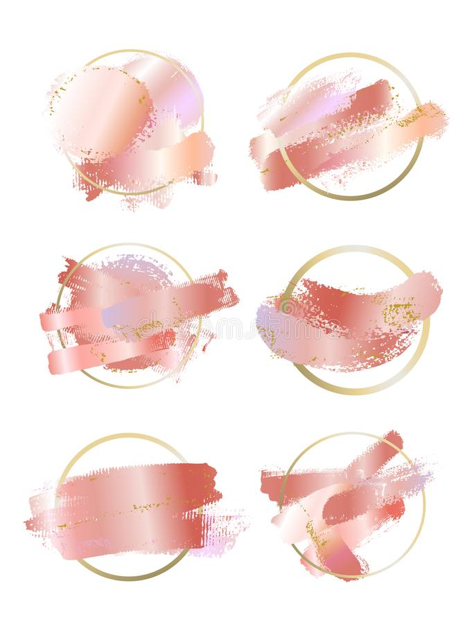 大套淡色玫瑰和桃红色刷子冲程和金线 秀丽身分典雅式样 金回合等高框架 ?? 向量例证