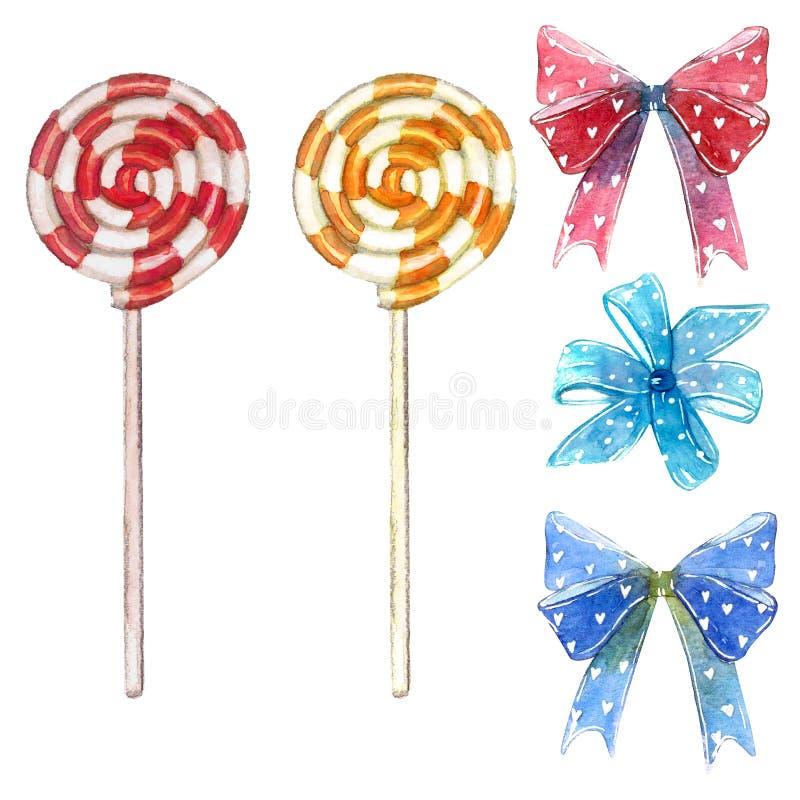 大套甜点元素由红色和黄色漩涡棒棒糖吮吸者忠心于制成弓和心脏 库存图片