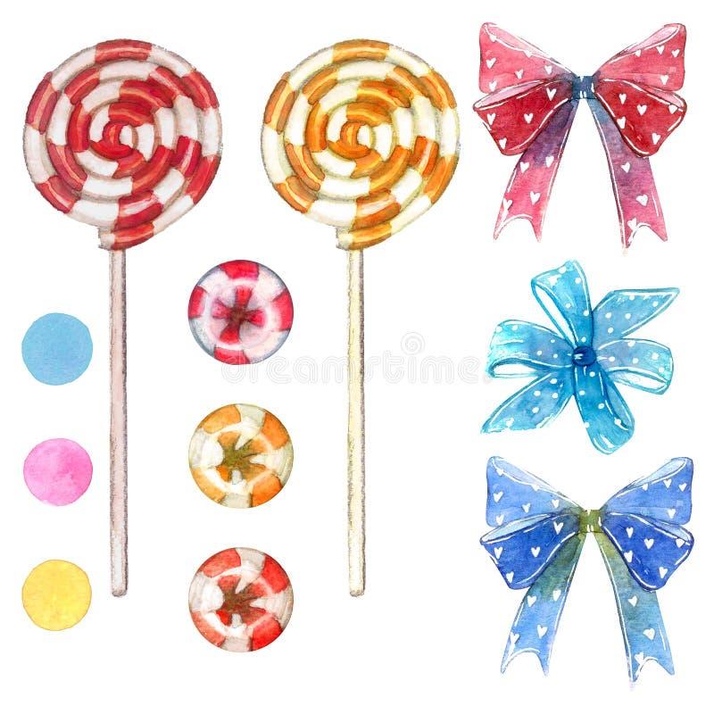 大套甜点元素由红色和黄色漩涡棒棒糖吮吸者忠心于制成弓和心脏 库存照片