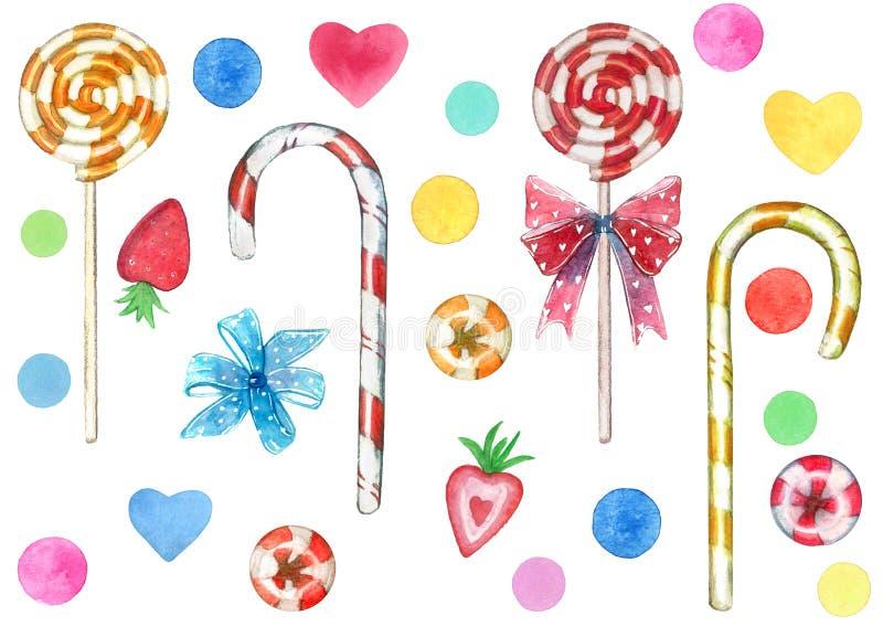 大套甜点元素由红色和黄色漩涡棒棒糖吮吸者忠心于制成弓和心脏 免版税库存图片