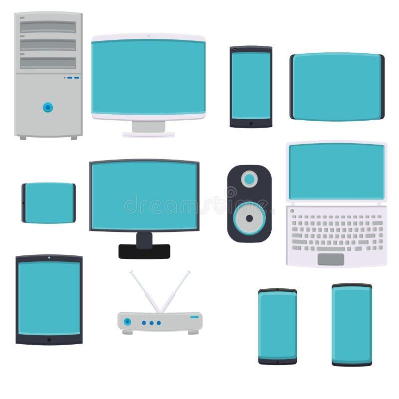 大套的传染媒介例证数字智能手机智能手机计算机平的象监测在白色的膝上型计算机调制解调器 向量例证
