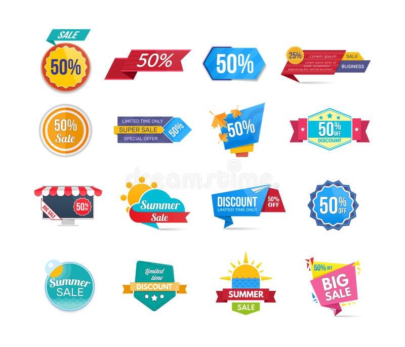 大套设计销售横幅和折扣贴纸 向量例证