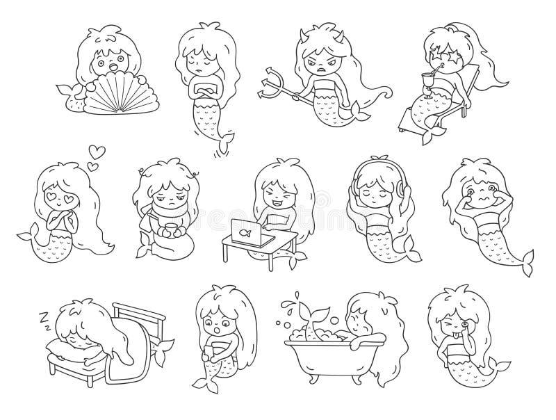 大套贴纸和emoji与滑稽的小的美人鱼 用不同的表情的卡通人物 免版税库存照片