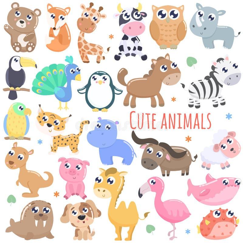 大套逗人喜爱的动画片动物例证 向量例证