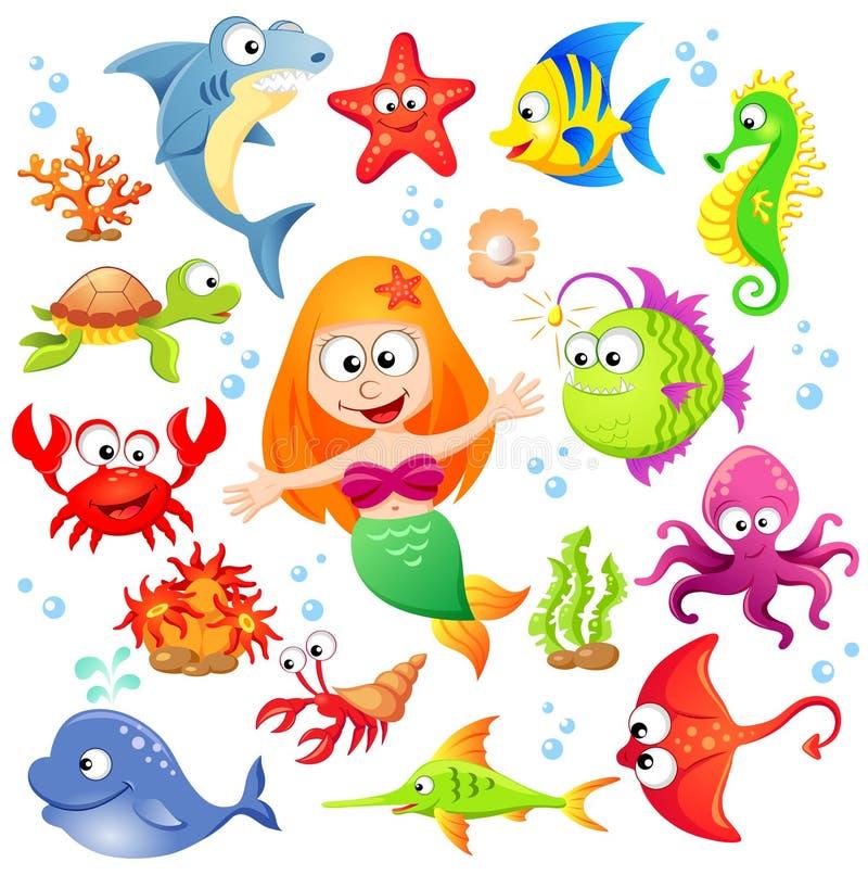 大套逗人喜爱的动画片海洋动物和美人鱼 向量例证