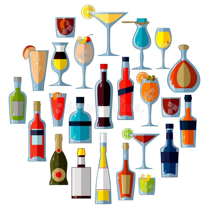 大套酒精鸡尾酒和饮料在平的传染媒介样式 皇族释放例证