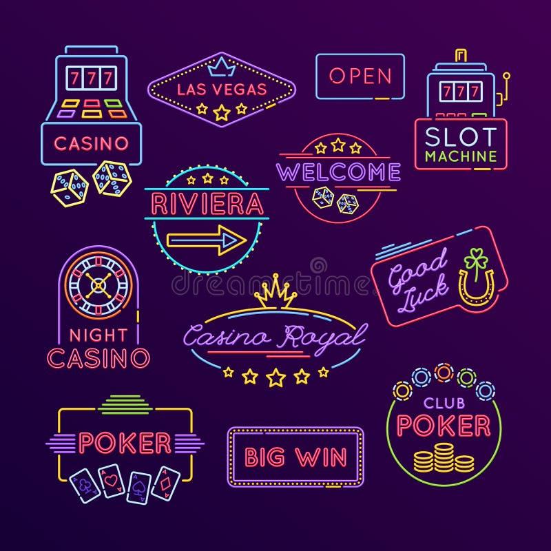 大套霓虹灯广告,明亮的标志 赌博娱乐场,赌博,赌博 向量例证