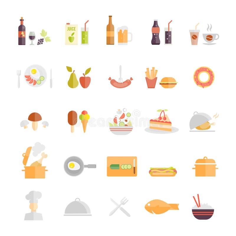 大套食物和饮料象 向量例证