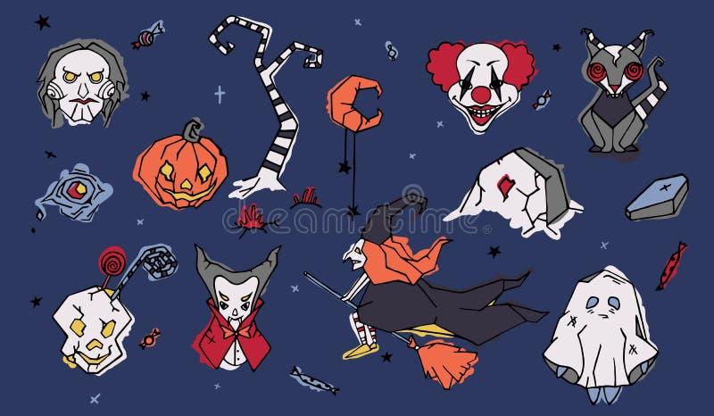 大套鬼的万圣夜漫画人物手拉在乱画样式-邪恶的小丑,木偶,在笤帚的巫婆飞行 库存例证