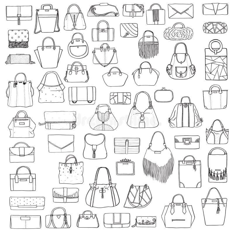 大套黑白doddle时尚袋子,手拉与贷方,隔绝在白色背景 例证机智 库存例证