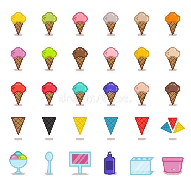 大套gelato咖啡馆的简单的概述象 背景查出的白色 冰淇凌不同的味道  皇族释放例证