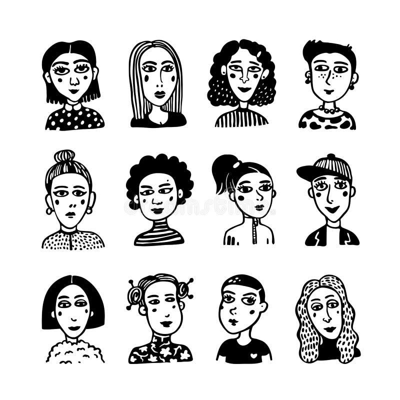 大套gilrls具体化 乱画时兴的女孩样式画象  男女平等主义者联合,女孩力量,妇女团体概念 向量例证