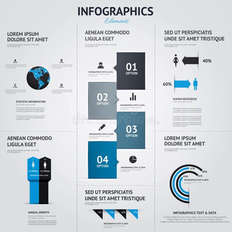 大套infographic元素 平的样式 向量例证