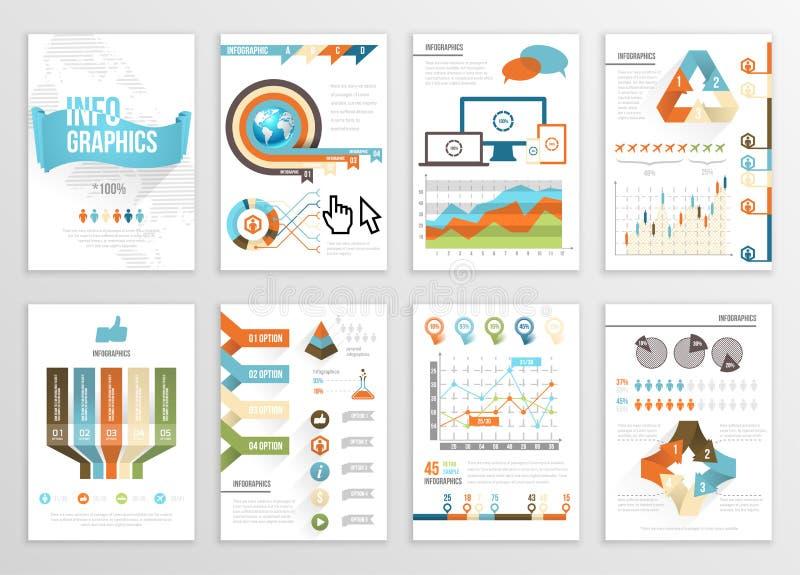 大套Infographics元素企业例证,飞行物,介绍 现代信息图表和社会媒介营销 皇族释放例证