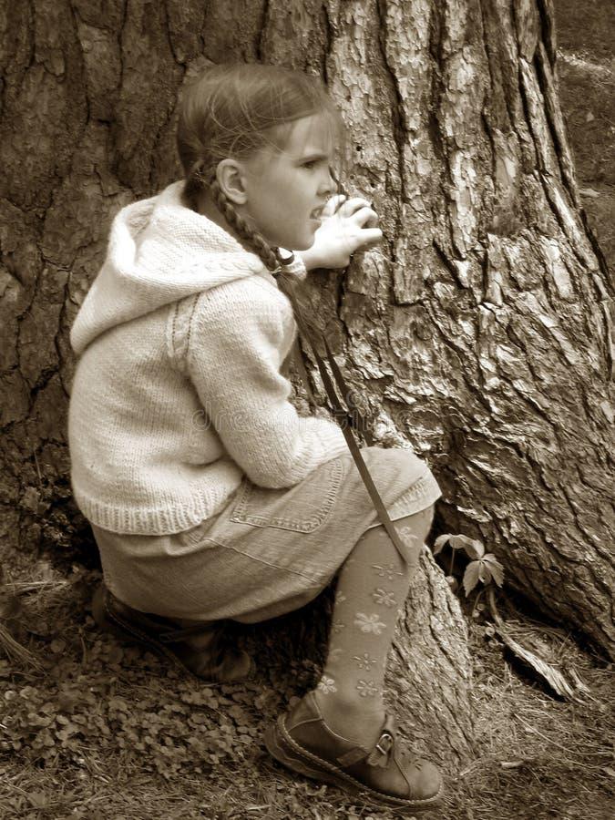 大女孩少许结构树 免版税库存照片
