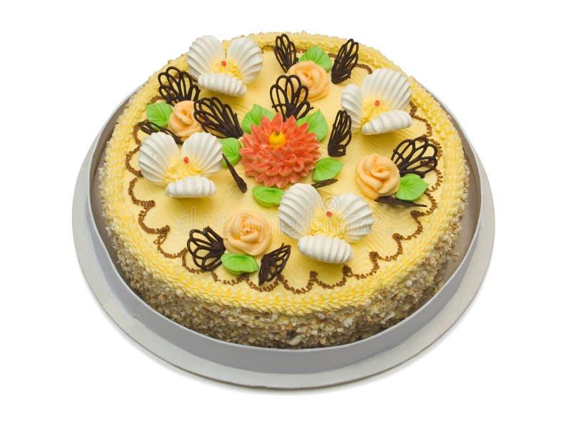 大奶油色蛋糕 免版税库存照片