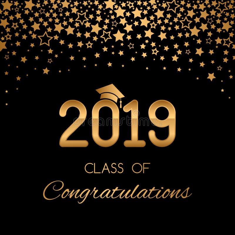 大学、学校、学院2019年有金黄星的和闪烁的毕业类祝贺的横幅或海报  库存例证