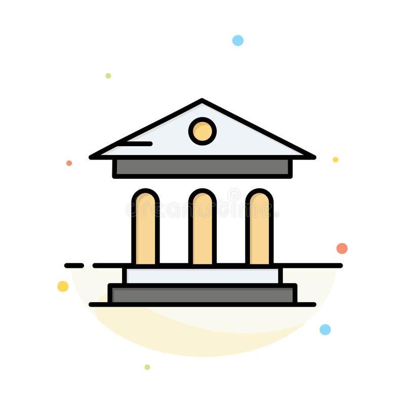 大学、银行、校园、法院摘要平面颜色图标模板 皇族释放例证