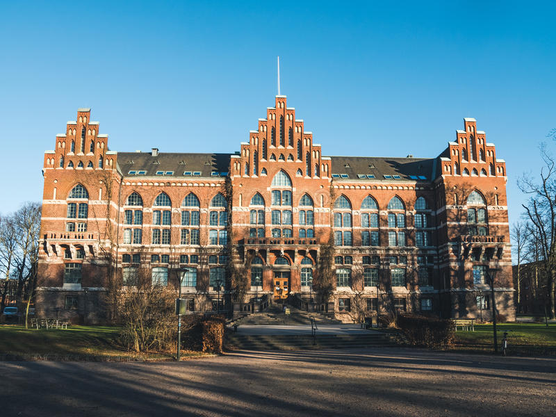 大学图书馆UB在隆德,瑞典 免版税库存照片
