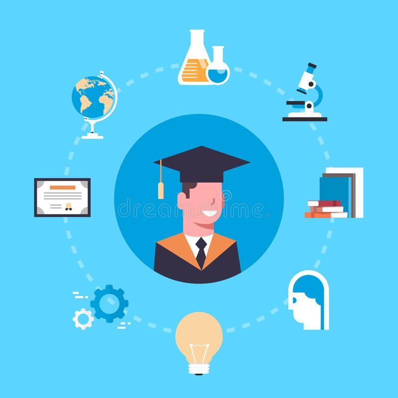 大学或学院毕业方帽与长袍的概念学生在教育象 皇族释放例证