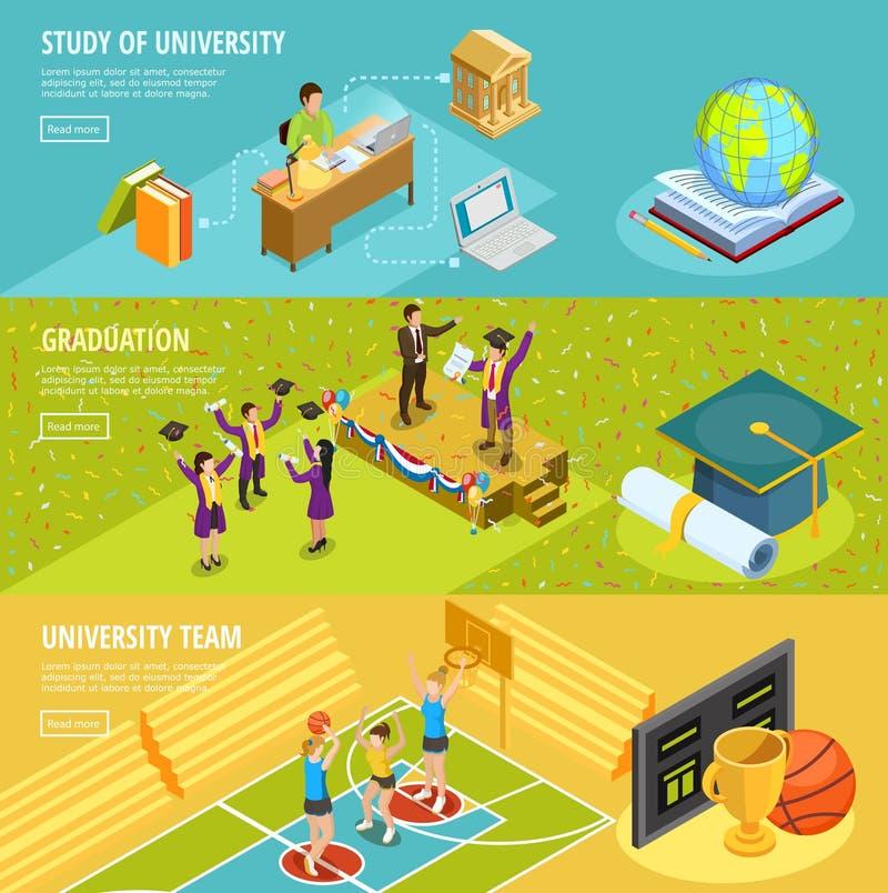 大学教育3副等量水平的横幅 库存例证